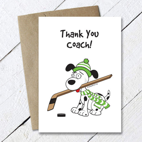 Thank You Hockey Coach Dog Card