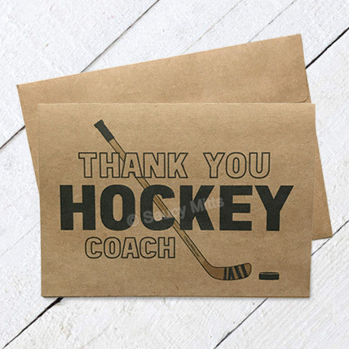 Thank You Hockey Coach Card - Stick and Puck