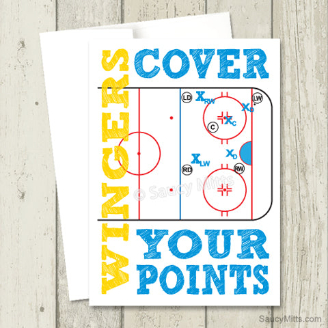 Hockey Greeting Card Wingers Cover Your Points