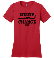dump and change womens hockey shirt red