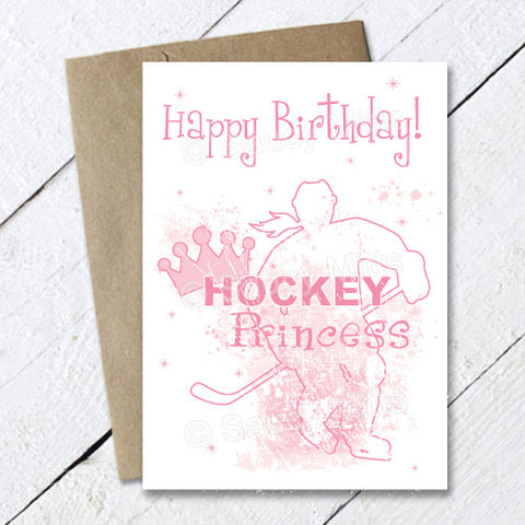 Women's Hockey Princess Birthday Card