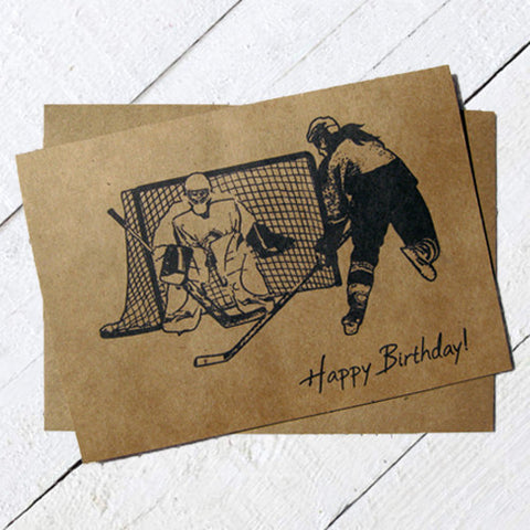 Women's Hockey Birthday Card Ink Sketch