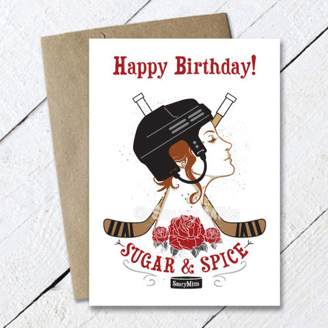 Women's Hockey Birthday Card Sugar and Spice
