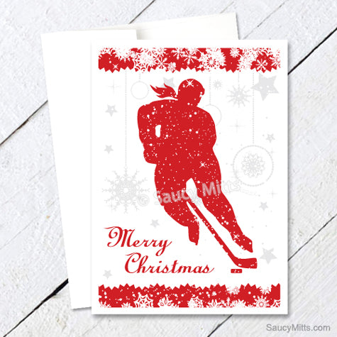 Womens Hockey Christmas Card - Red Snowflakes