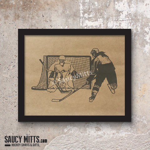 Women's Hockey Ink Sketch Print
