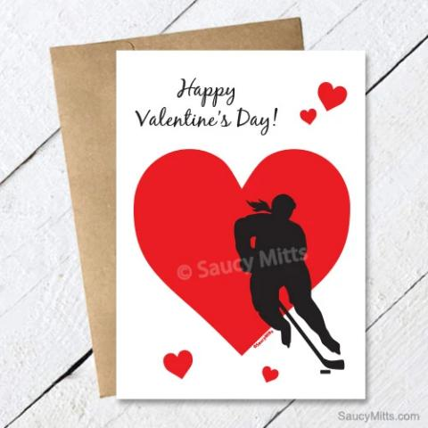 Women's Hockey Valentine's Day Card