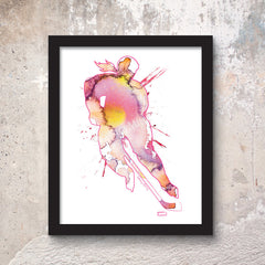 womens hockey watercolor poster print 8x10