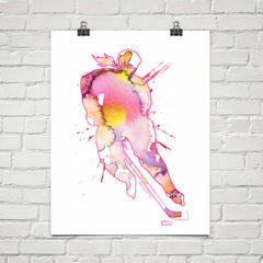 womens hockey watercolor poster print