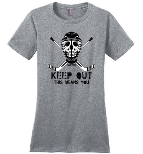 womens keep out hockey goalie shirt heathered steel