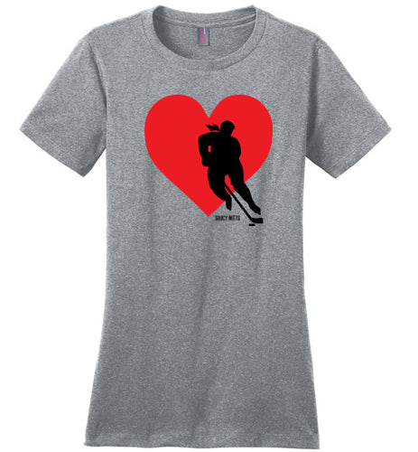 women's red heart love hockey shirt heathered steel