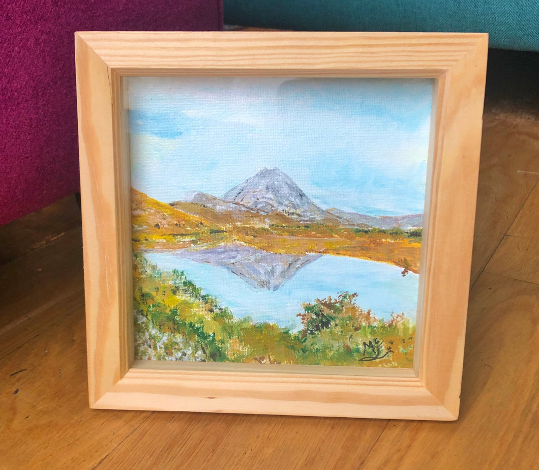 'Errigal'  Acrylic framed original by Marion Rose     6.5 x 6.5 inches