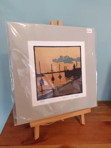Atlantic Art by Kevin Lowery - 'Pier' Lino Print ( Unframed )