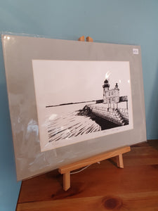 Limited Edition Black/White Pier at Howth by Kevin Lowery  (unframed)