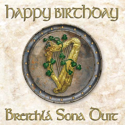 Irish Language Greeting Card- Happy Birthday with Harp