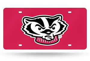 "Rico Industries NCAA Wisconsin Badgers Laser Inlaid Metal License Plate Tag, Red, 6"" x 12"""