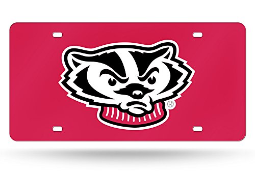 Rico Industries NCAA Wisconsin Badgers Laser Inlaid Metal License Plate Tag, Red, 6