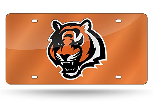 Rico Industries NFL Cincinnati Bengals Laser Inlaid Metal License Plate Tag, Orange, 6