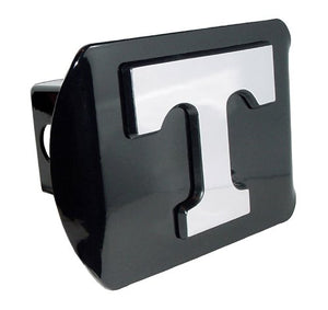 "Tennessee Volunteers Black Metal Trailer Hitch Cover with Chrome Metal Logo (For 2"" Receivers)"