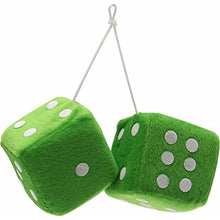 "Load image into Gallery viewer, Vintage Parts 14558 3"" Green Fuzzy Dice with White Dots - Pair"