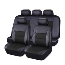 Load image into Gallery viewer, CAR PASS - 11PCS Luxurous PU Leather Automotive Universal Seat Covers Set Package-Universal fit for Vehicles with Super 5mm Composite Sponge Inside,Airbag Compatible (Black and Black)