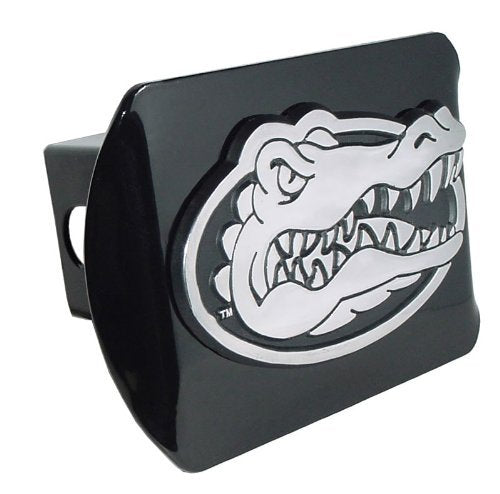 University of Florida Gator Head Emblem on Black Metal Hitch Cover