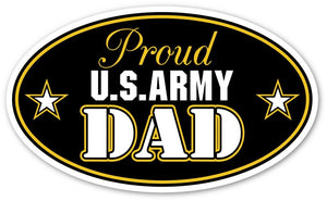 "Proud US Army Dad Support our Troops Euro Vinyl Decal Bumper Sticker - Perfect For Car, Wall, Window, Laptop, Motorcycle, Bike, Helmet And Any Smooth Surface 3"" X 5"" (Inches) [ 3 Stickers Will be Included in Each Order ]"