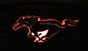 Red LED Light up with Chrome Emblem Compatible with 2005-2009 Ford Mustang Front Grill