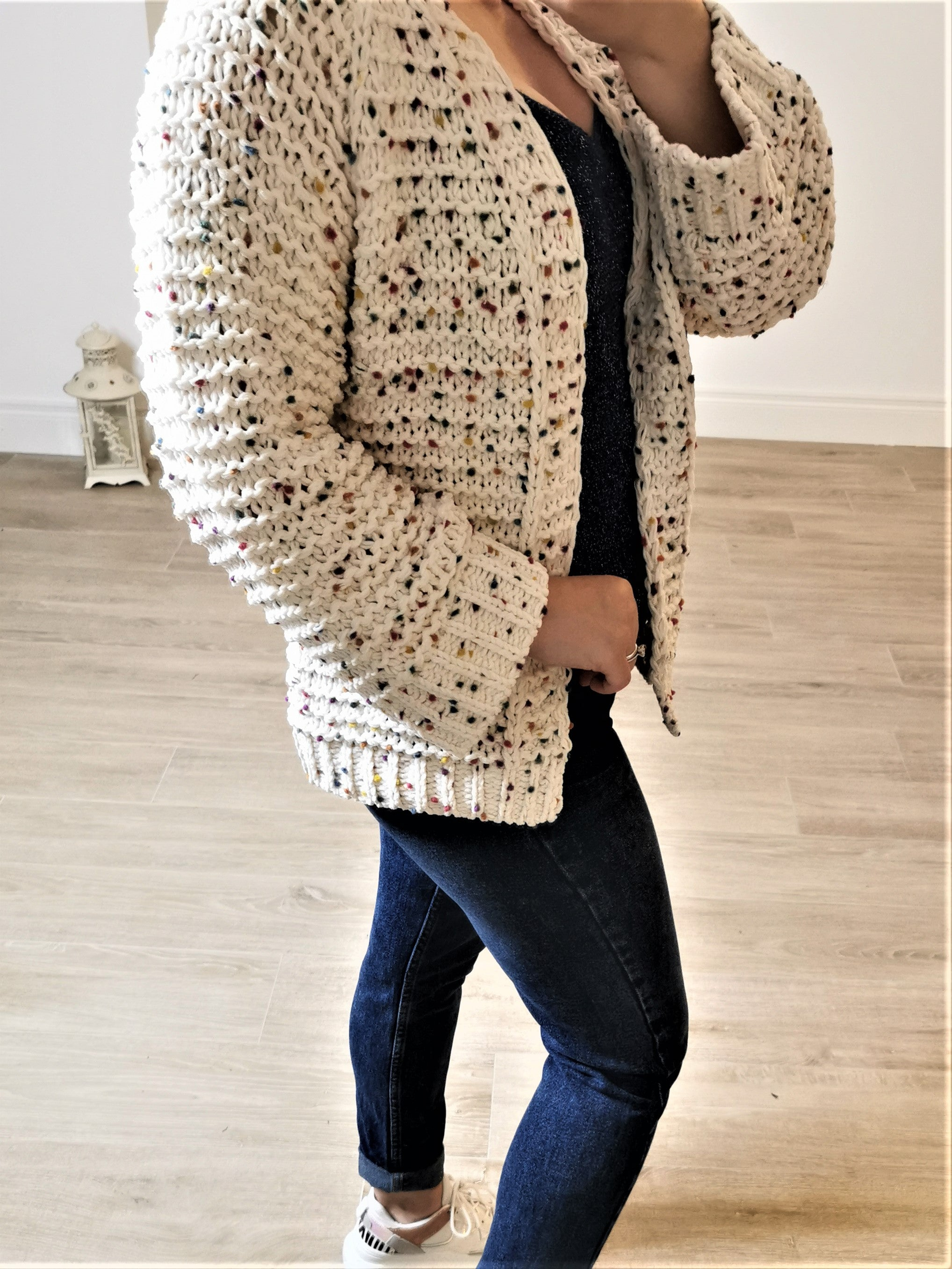SOPHIA Chunky Knit Rainbow Cardigan (Cream)
