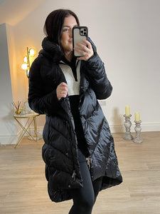 HERMIONE Longline Eco-Down Hooded Puffer Coat