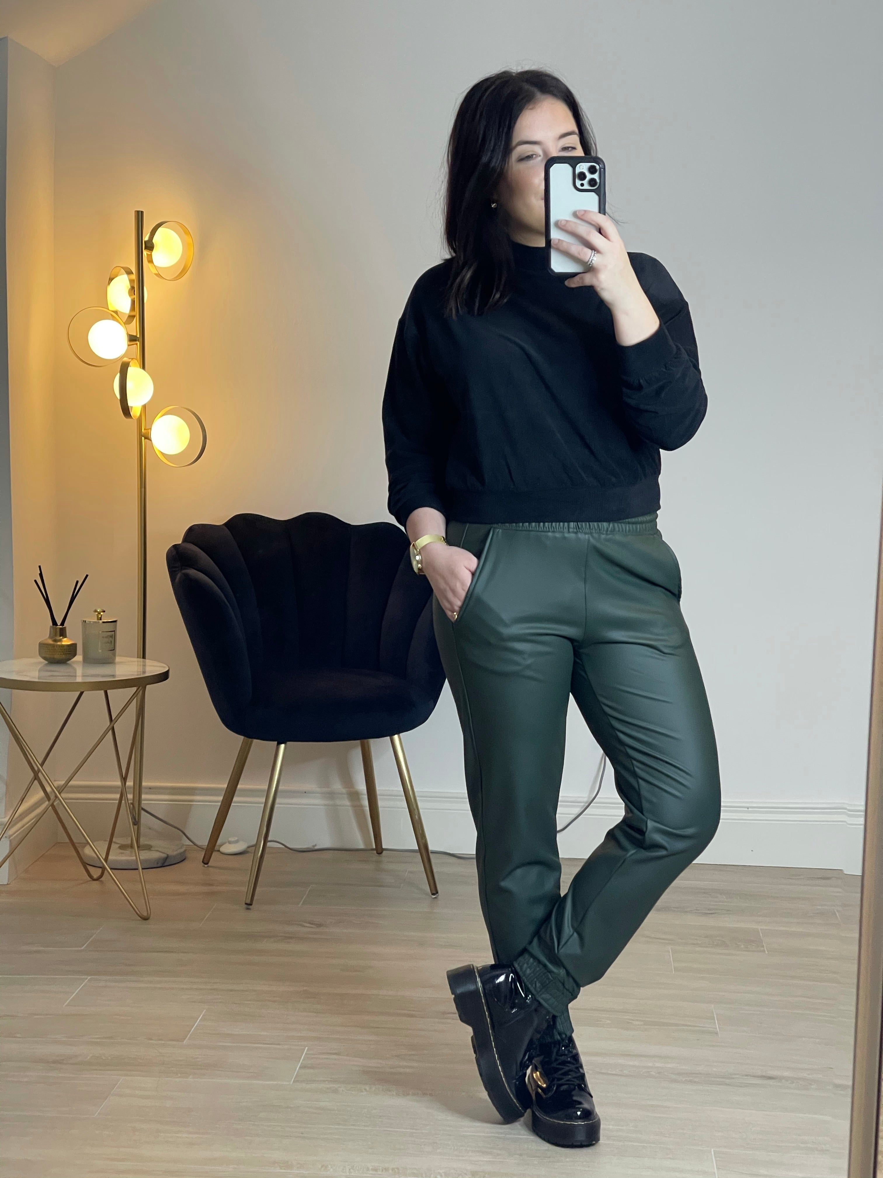 JENNY Faux Leather Jogger In Khaki