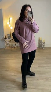 JADE Mid-Length Tunic Hoodie (Jade Green, Dusty Pink, Dove Grey, Dark Navy & Black)