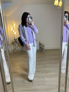 EMILY High waist flared trousers with belt
