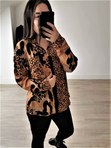 ELIZA Print Shirt (Tan & Black)