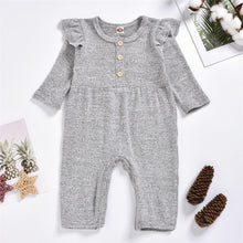 Load image into Gallery viewer, Grey Ruffle Romper