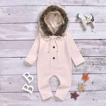 Load image into Gallery viewer, Light Pink Hooded Fur Romper