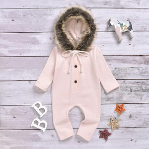Light Pink Hooded Fur Romper