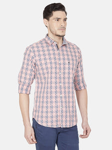 Men's Slim-fit Checked Casual Shirt-BP23315FPeach