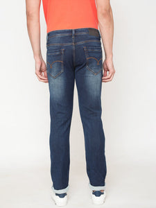 Men's Cotton Stretchable Slim-fit Jeans-D9067Navy blue