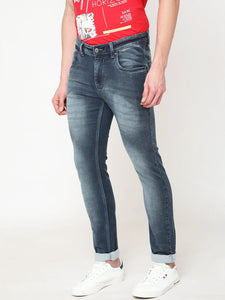 Men's Denim Blue Cotton Stretchable Slim-fit Jeans-DH9216Denim_blue