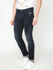 Men's Dark Blue Cotton Stretchable Slim-fit Jeans-DH9226Dark_blue