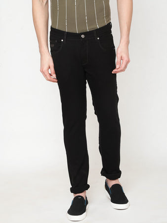 Men's Black Cotton Stretchable Slim-fit Jeans-DH9231Black