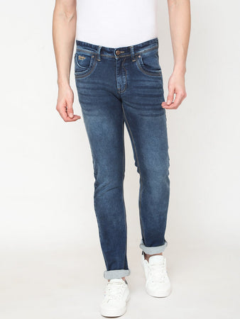 Men's Blue Cotton Stretchable Slim-fit Jeans-DH9275Blue