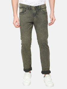 Men's Cotton Stretchable Slim-fit Jeans-DH9301Olive