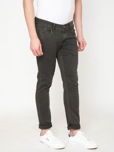 Men's Khakhi Cotton Stretchable Slim-fit Jeans-DH9321Khaki