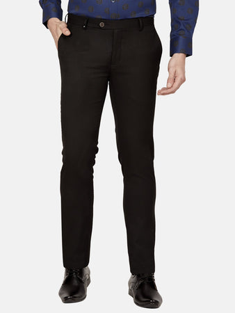 Men's Poly-viscose Super Slim-fit Formal Trousers-F7145BBlack