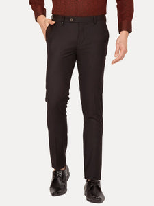 Men's Poly-viscose Super Slim-fit Dobby Formal Trousers-F7154BBlack