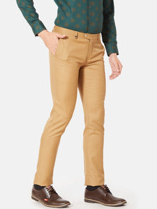 Men's Poly-viscose Slim-fit Formal Trousers-F7159BKhaki