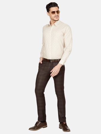 Men's Poly-viscose Super Slim-fit Formal Trousers-F7167BBrown