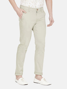 Men's Stretchable Slim-fit Dobby Casual Trousers-H4635BEcru