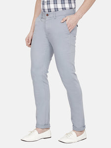 Men's Stretchable Slim-fit Dobby Casual Trousers-H4635BGrey